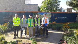 Marlborough Apprentices with Project Leader Noel Ryan (left) and Barratt David Wilson's Project Manager Martin Thorley (right)